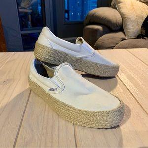 Vans Linen Slip-On Platform Espadrille Sneakers
